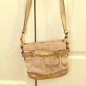 Coach crossbody hand bag gold leather and fabric